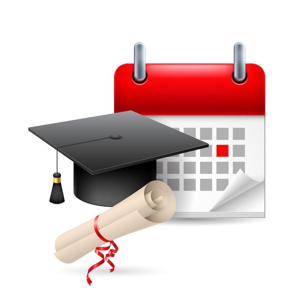 Education time icon illustration Premium Vector