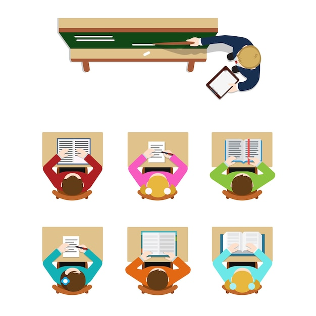 Education training class teacher coach blackboard and student pupil. flat top table view  concept school classroom tables. website creative people conceptual collection. Free Vector