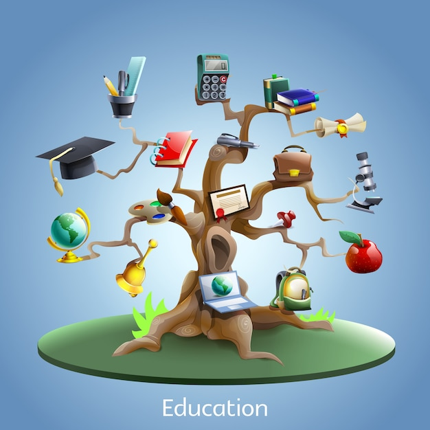 Education tree concept Free Vector
