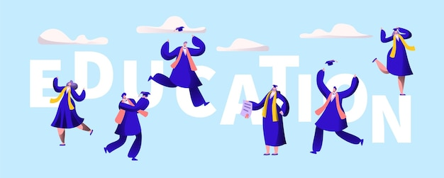 Баннер типографии мотивации образования университета. Premium векторы