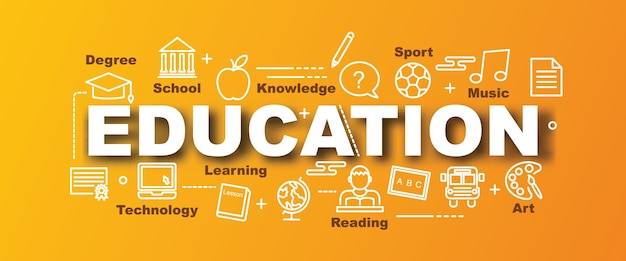 Education vector trendy banner Premium Vector
