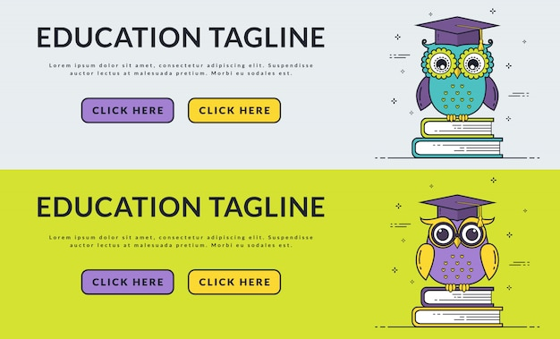 Education web banners with smart owl. Premium Vector