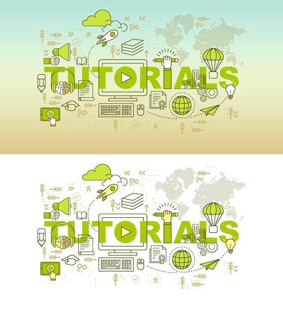Education web page banner design concept Premium Vector