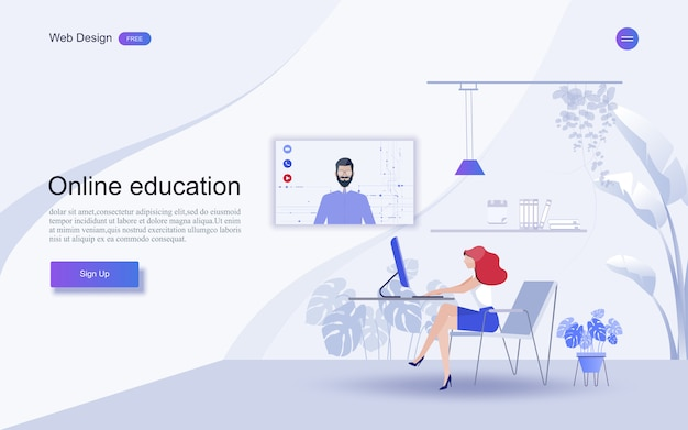 Education for website and landing page template.online education, training and courses, learning, Premium Vector