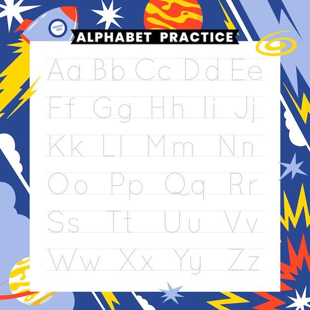 Modello di tracciamento di alfabeto educativo per bambini Vettore gratuito