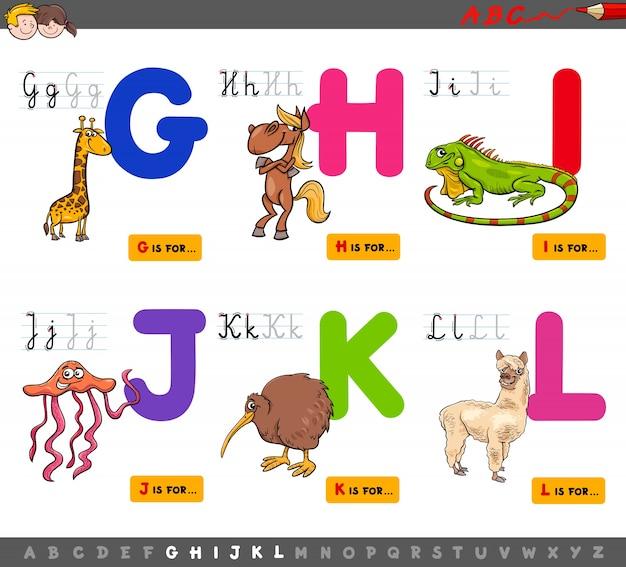 Educational cartoon alphabet for children Premium Vector