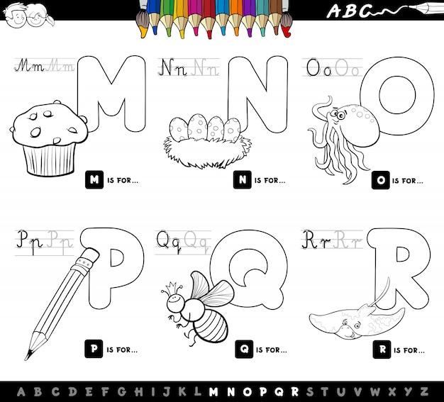 Educational Cartoon Alphabet Letters Color Book Premium Vector