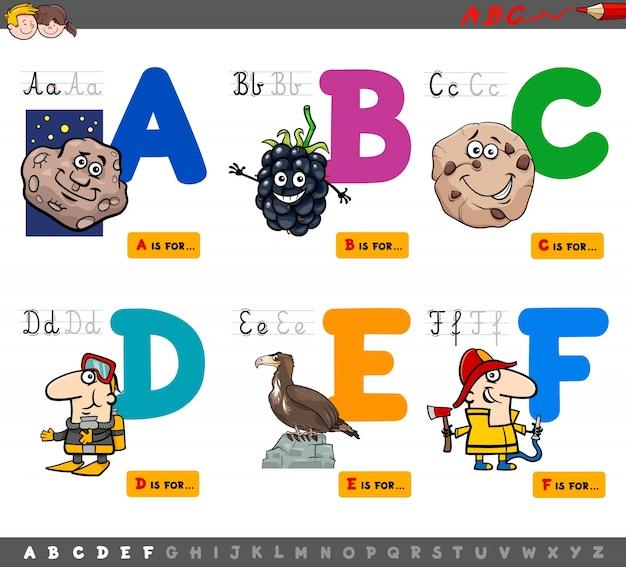 教育漫画のアルファベット文字 Premiumベクター
