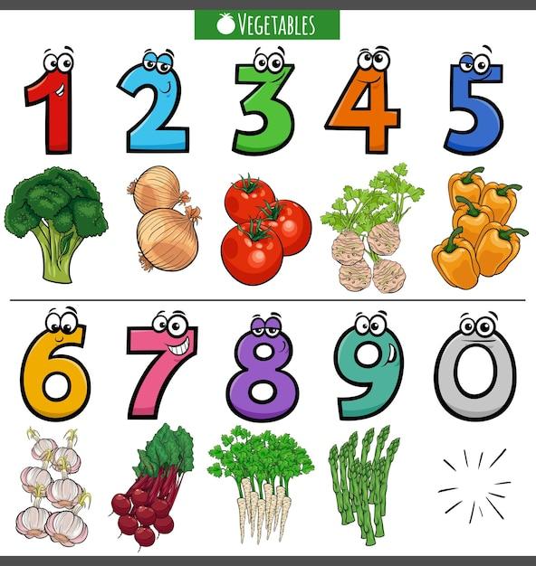 Образовательные мультипликационные номера с овощами Premium векторы