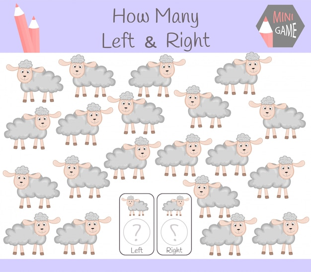 Educational game of counting left and right oriented pictures for children with sheep Premium Vector