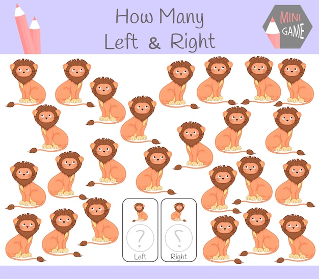 Educational game left and right oriented pictures with lion Premium Vector