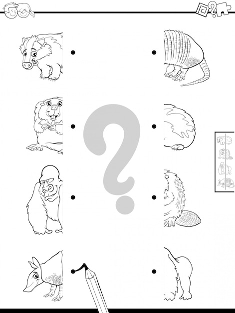 Educational game of matching halves of animals Premium Vector