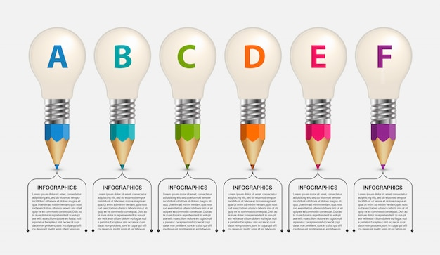 Educational infographic, pencils with a light bulb on top. Premium Vector