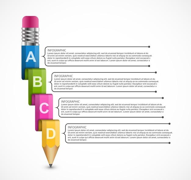 鉛筆で教育インフォグラフィックテンプレート Premiumベクター
