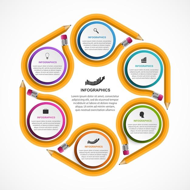 教育インフォグラフィックテンプレート。 Premiumベクター