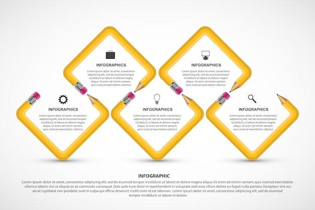 Educational infographics template. Premium Vector