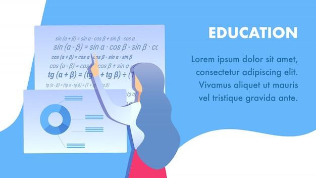 Educational institution flat banner   layout Premium Vector