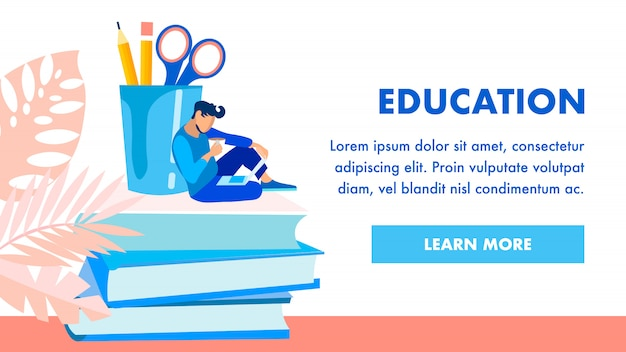 Educational institution homepage template Premium Vector