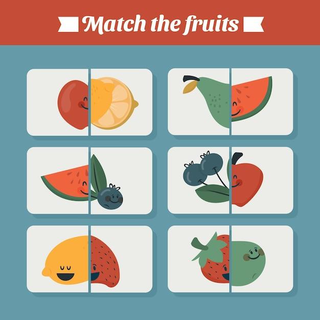 Gioco educativo per bambini con frutta Vettore gratuito