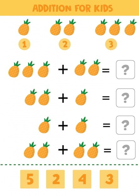 Educational math children game with pineapples for kids. Premium Vector