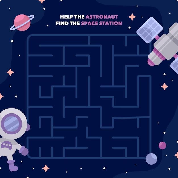 Развивающий лабиринт для детей с космонавтом Бесплатные векторы