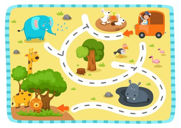 Развивающая игра лабиринт для детей иллюстрация Premium векторы