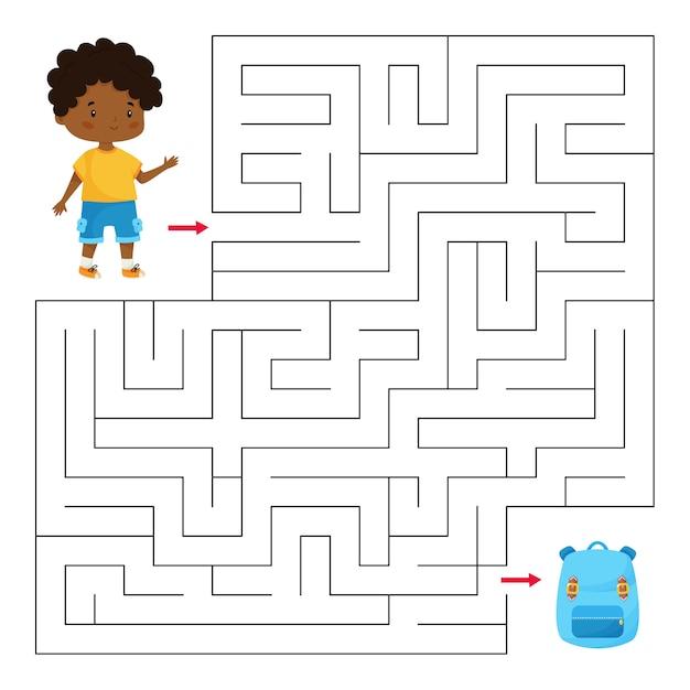 Развивающая игра-лабиринт для детей дошкольного и школьного возраста. помогите мальчику найти правильный путь к школьной сумке. Premium векторы