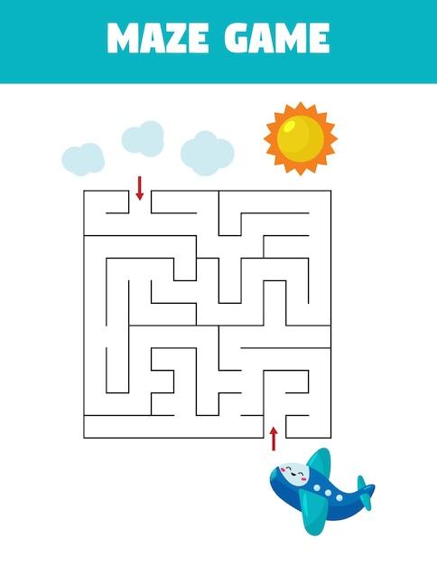 Развивающая игра-лабиринт для детей дошкольного возраста. помогите самолету взлететь в небо. Premium векторы