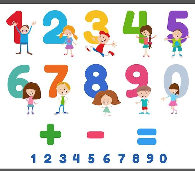 Образовательные номера с забавными детскими персонажами Premium векторы