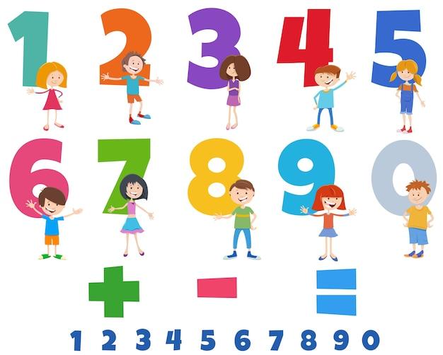 幸せな子供たちのキャラクターで設定された教育番号 Premiumベクター