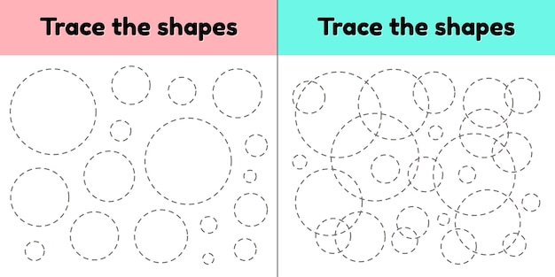 Educational tracing worksheet for kids kindergarten, preschool and school age. trace the geometric shape.  dashed lines. circle. Premium Vector