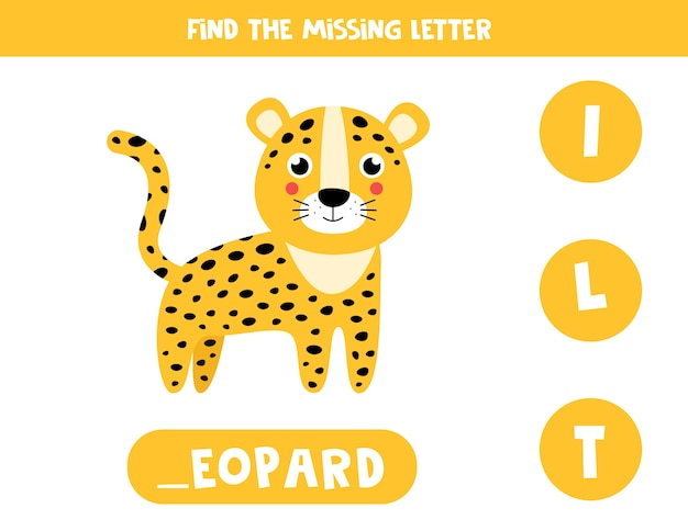 Educational vocabulary worksheet for kids. find missing letter. cute leopard in cartoon style. Premium Vector