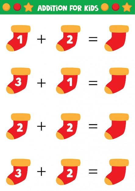 Educational worksheet for kids. addition for kids with winter socks. Premium Vector