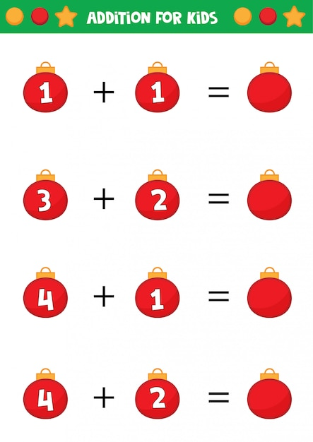 Educational worksheet for preschool kids. addition for ...