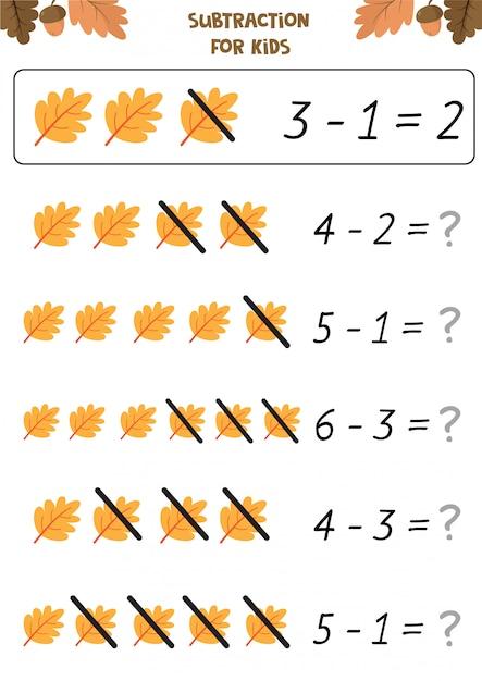 Educational worksheet for preschool kids. subtraction for ...