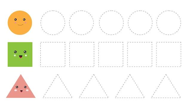 Educational worksheet for preschool kids. trace shapes ...