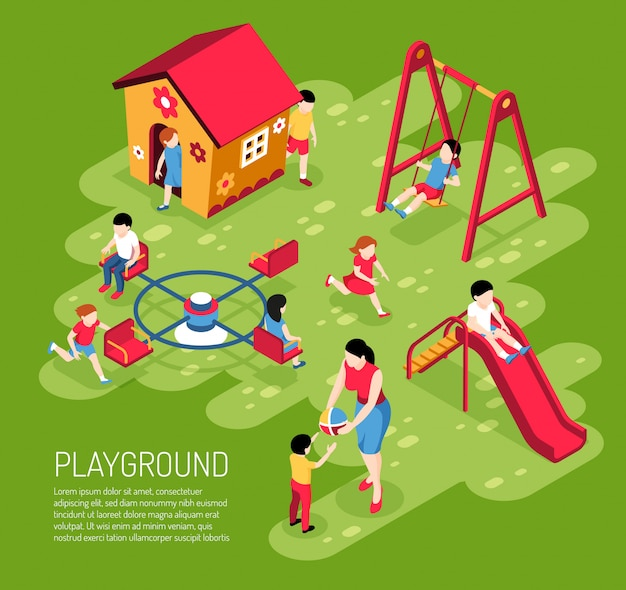 Educator and kids on play ground in kindergarten in summer on green  isometric Free Vector