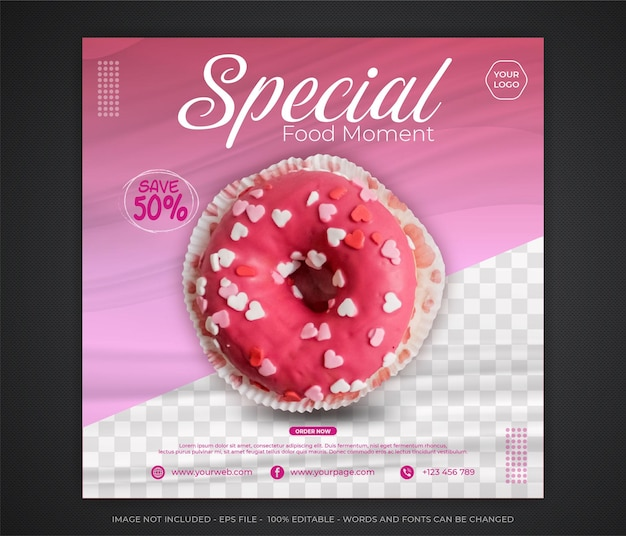 Edutable food moment social media promotion and banner post design template Premium Vector
