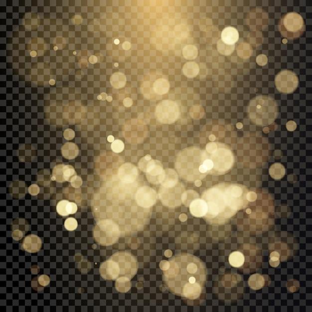 色のボケ円の効果。クリスマスに輝く暖かい金色のキラキラ要素。透明な背景に分離されたイラスト Premiumベクター
