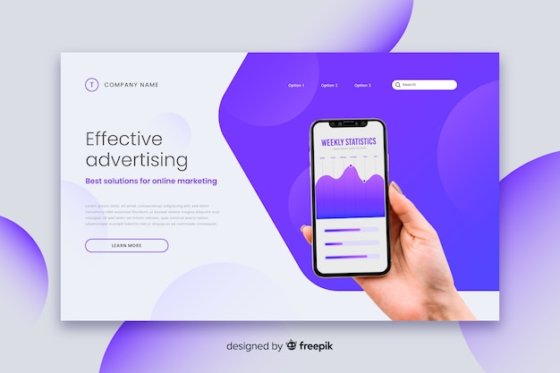 UX Design Effective technology landing page Free Vector