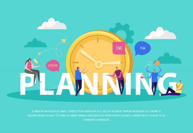 Effective management concept flat composition with text and doodle human characters cloud images and clock Free Vector