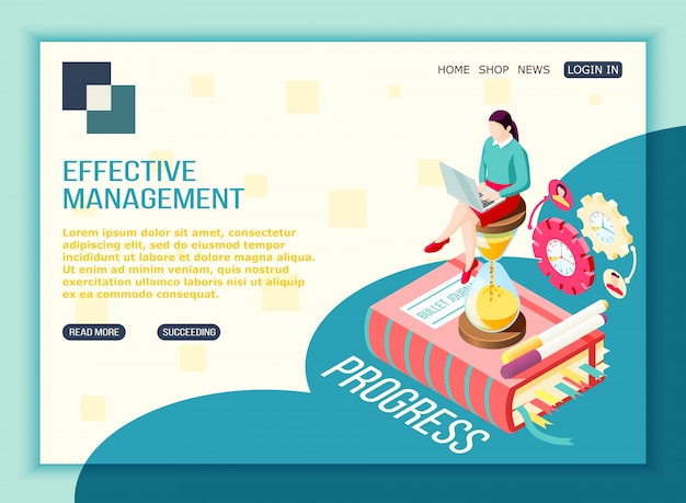 Effective management concept isometric landing page with editable text clickable buttons pictogram icons and conceptual images Free Vector