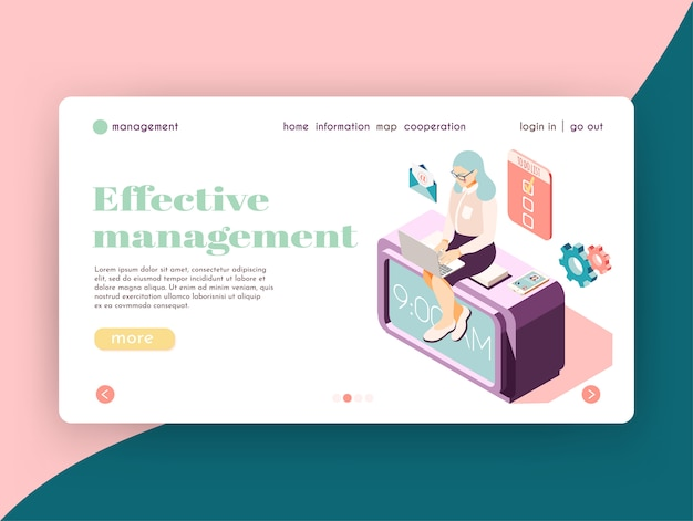 職場のアイコンとクリック可能なリンクで女性キャラクターを使った効果的な管理等尺性ランディングページのウェブサイトのデザイン 無料ベクター