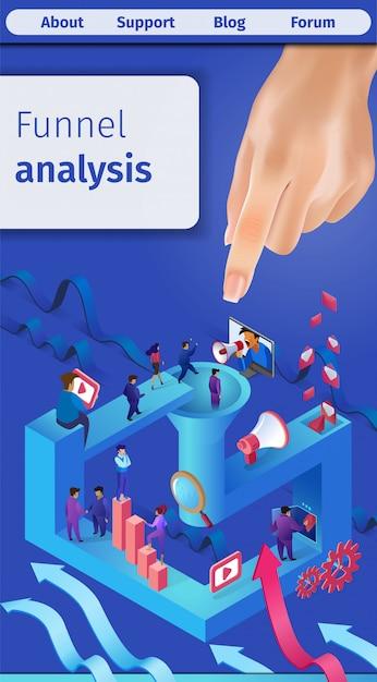 Effective sales funnel analysis vertical banner. Premium Vector