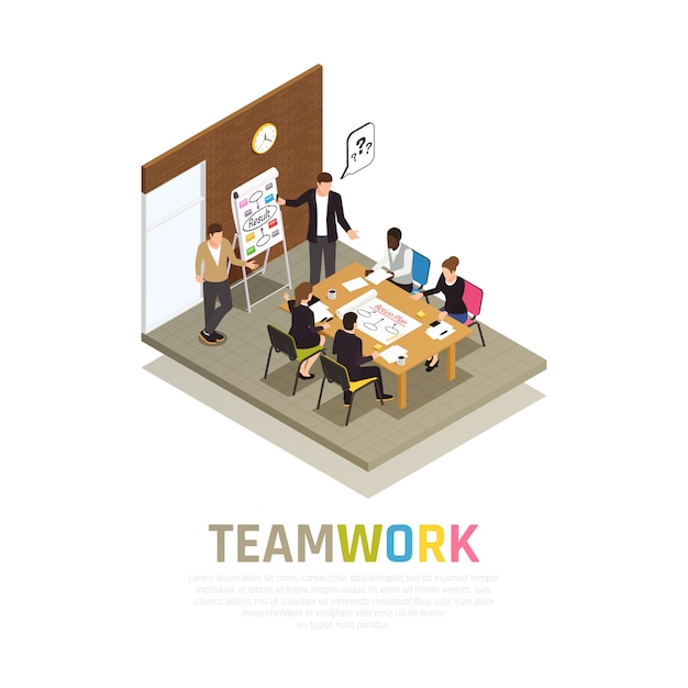 Effective teamwork collaboration isometric composition with project manager holding meeting sharing ideas with working group Free Vector