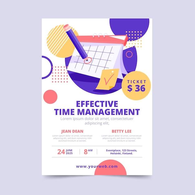 Modello di poster per la gestione del tempo efficace Vettore gratuito