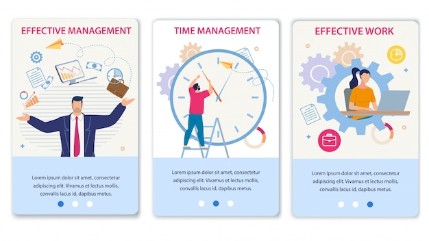 Effective time management and work mobile page set Premium Vector