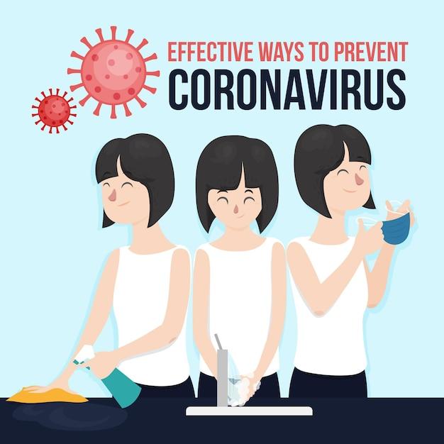 コロナウイルスを防ぐ効果的な方法 無料ベクター