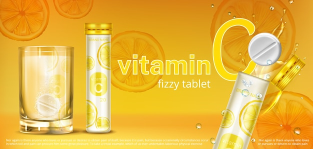 Effervescent soluble tablet with vitamin c in glass of water and container. vector realistic banner of fizzy pill, dissolving medicine drug with orange flavour. Free Vector