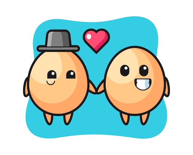Egg cartoon character couple with fall in love gesture, cute style design for t shirt, sticker, logo element Premium Vector